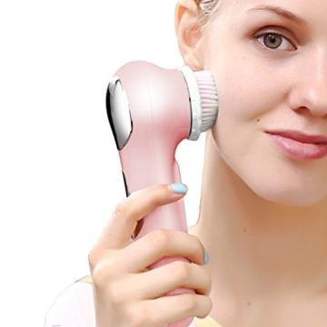 KINGDOMCARES Ultraschall Wasserdichte Gesichtsreinigungsbürste Wiederaufladbare Exfoliating Microdermabrasion Gesichts Bürste Intensivreinigung Haut und Körper Schrubben Gesichtsmassagegerät mit 3 Geschwindigkeiten 2 Pinsel Rosa Köpfe Gesichtsbürste -